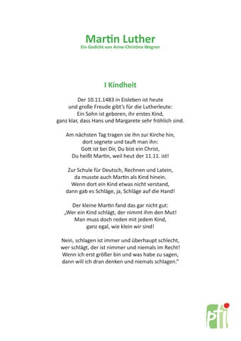 Martin Luther Luther Gedicht By Simonewustrack Issuu