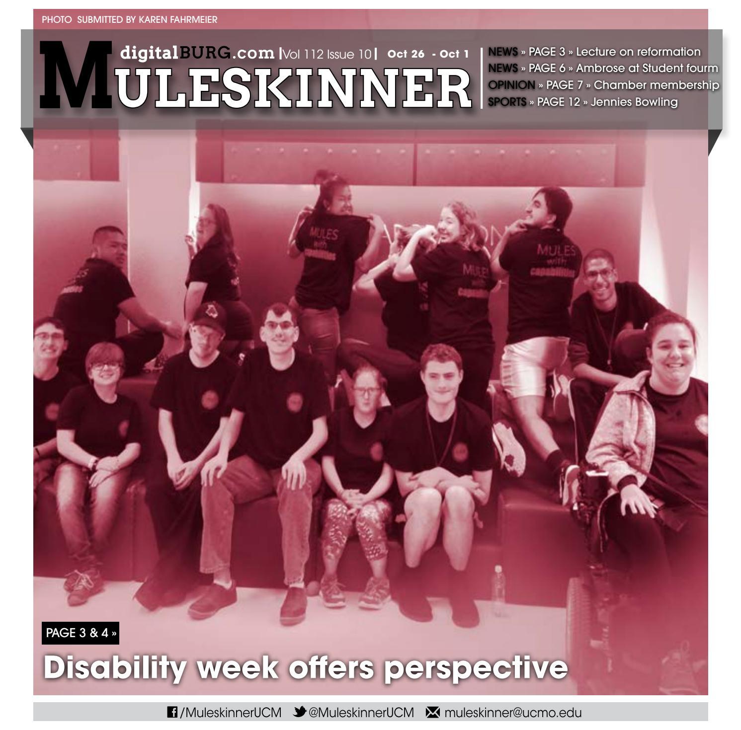 Muleskinner Vol. 112 Issue 10 10.26.17 by UCM Muleskinner