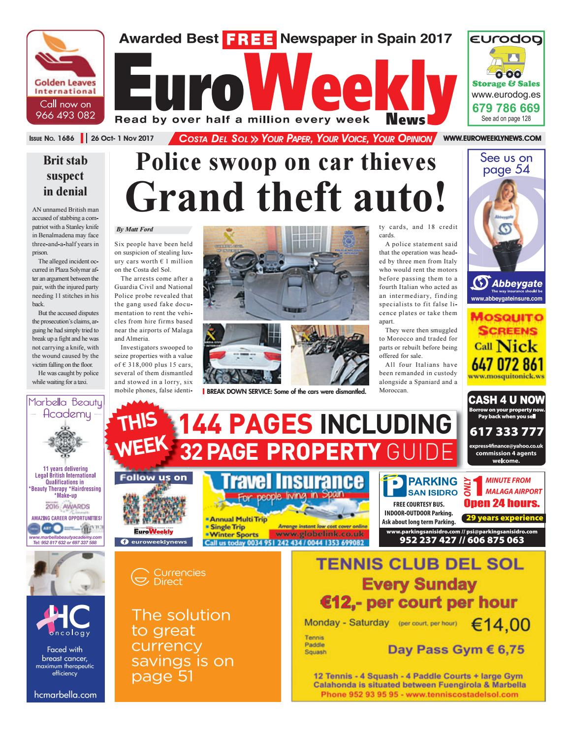 Euro Weekly News - Costa del Sol 26 October – 1 November 2017 Issue 1686 by  Euro Weekly News Media S.A. - issuu 05ac2a17ab5d8