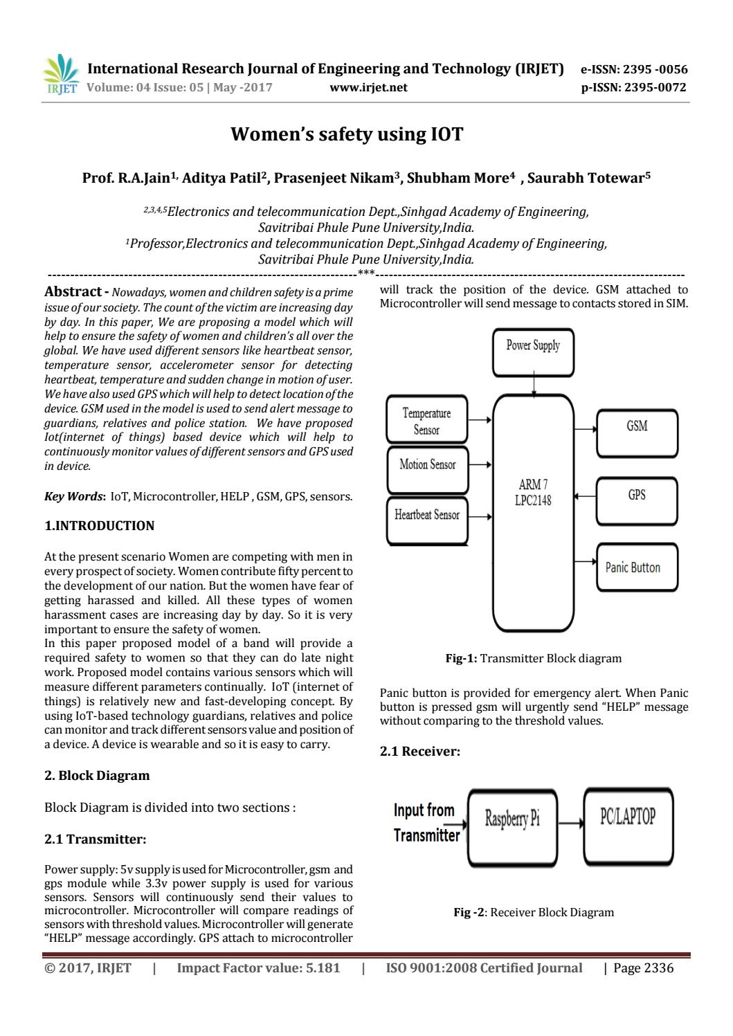 Womens Safety Using Iot By Irjet Journal Issuu Fig A Block Diagram Of Smart Transmitter