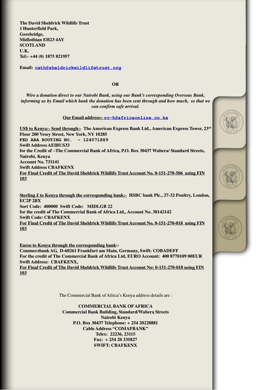 DSWT Annual Newsletter 2004 by Sheldrick Wildlife Trust - issuu