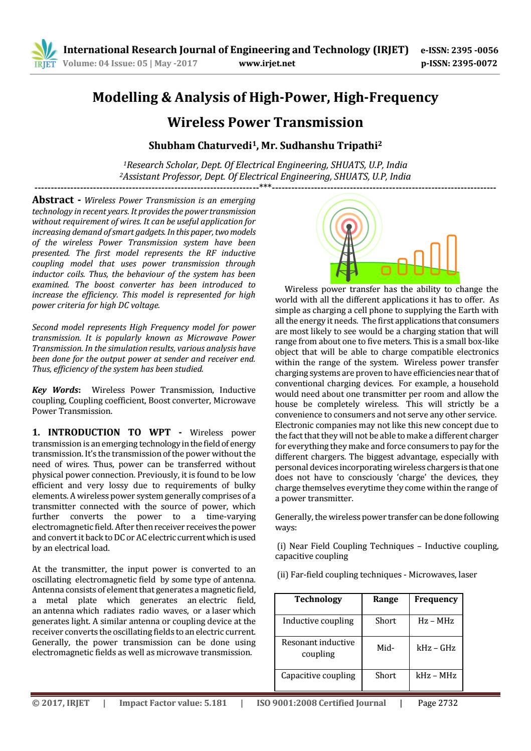 Modelling & Analysis of High-Power , High-Frequency Wireless Power