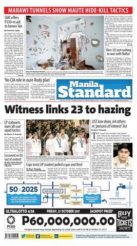 Manila Standard - 2017 October 27 - Friday