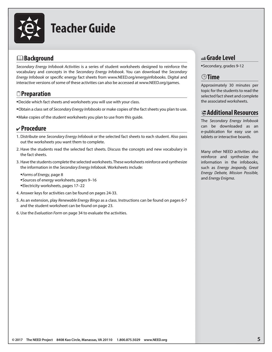 worksheet Forms Of Energy Worksheet Answers secondary energy infobook activities by need project issuu