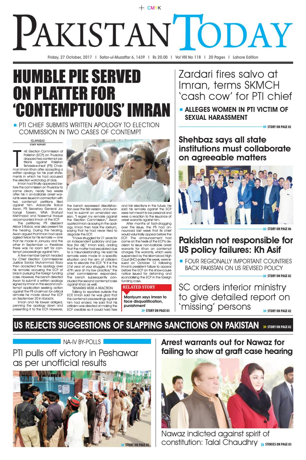 E paper pdf 27th october (lhr) by Pakistan Today - issuu