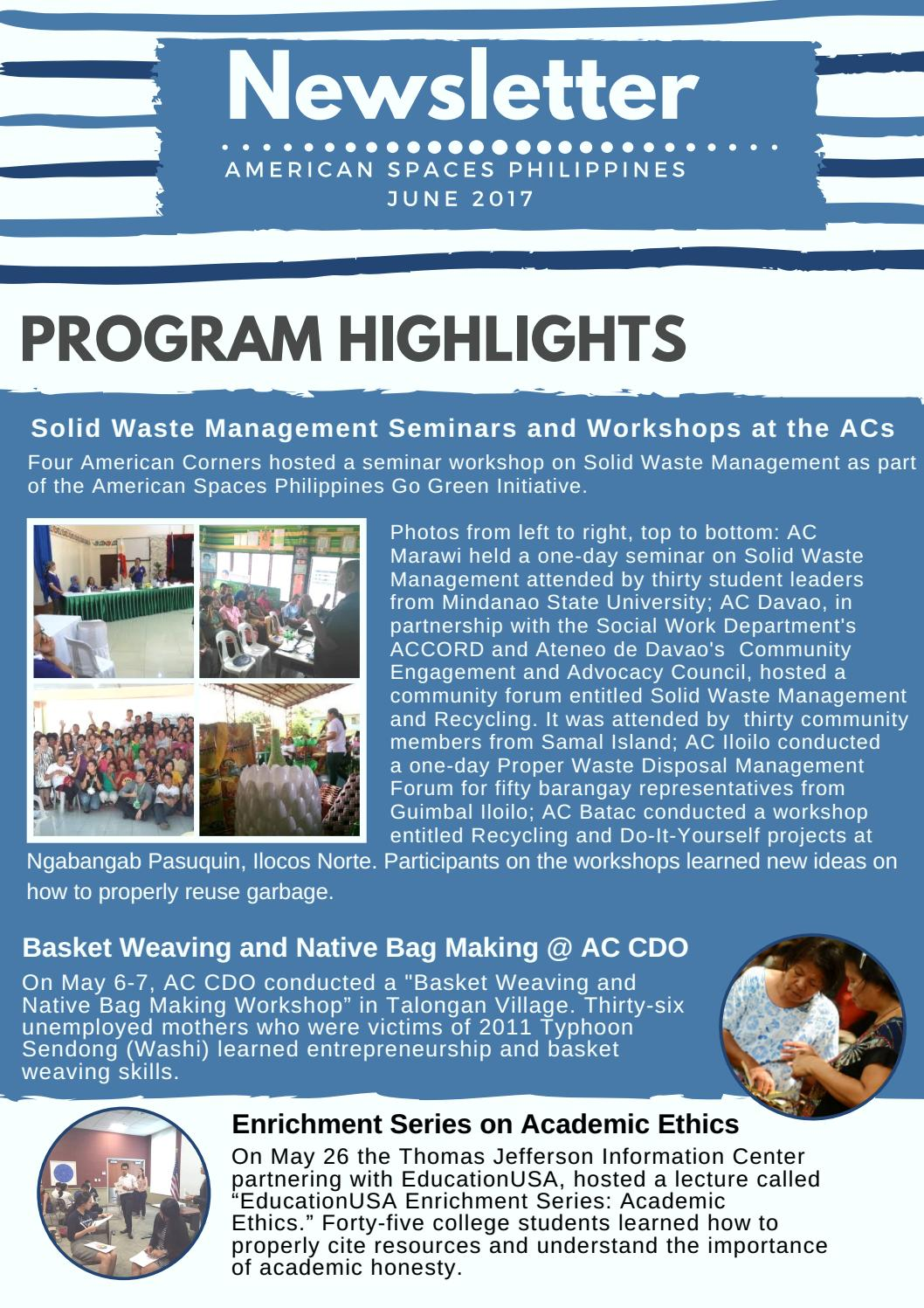 AmSpacesPH Newsletter (June 2017) by American Spaces
