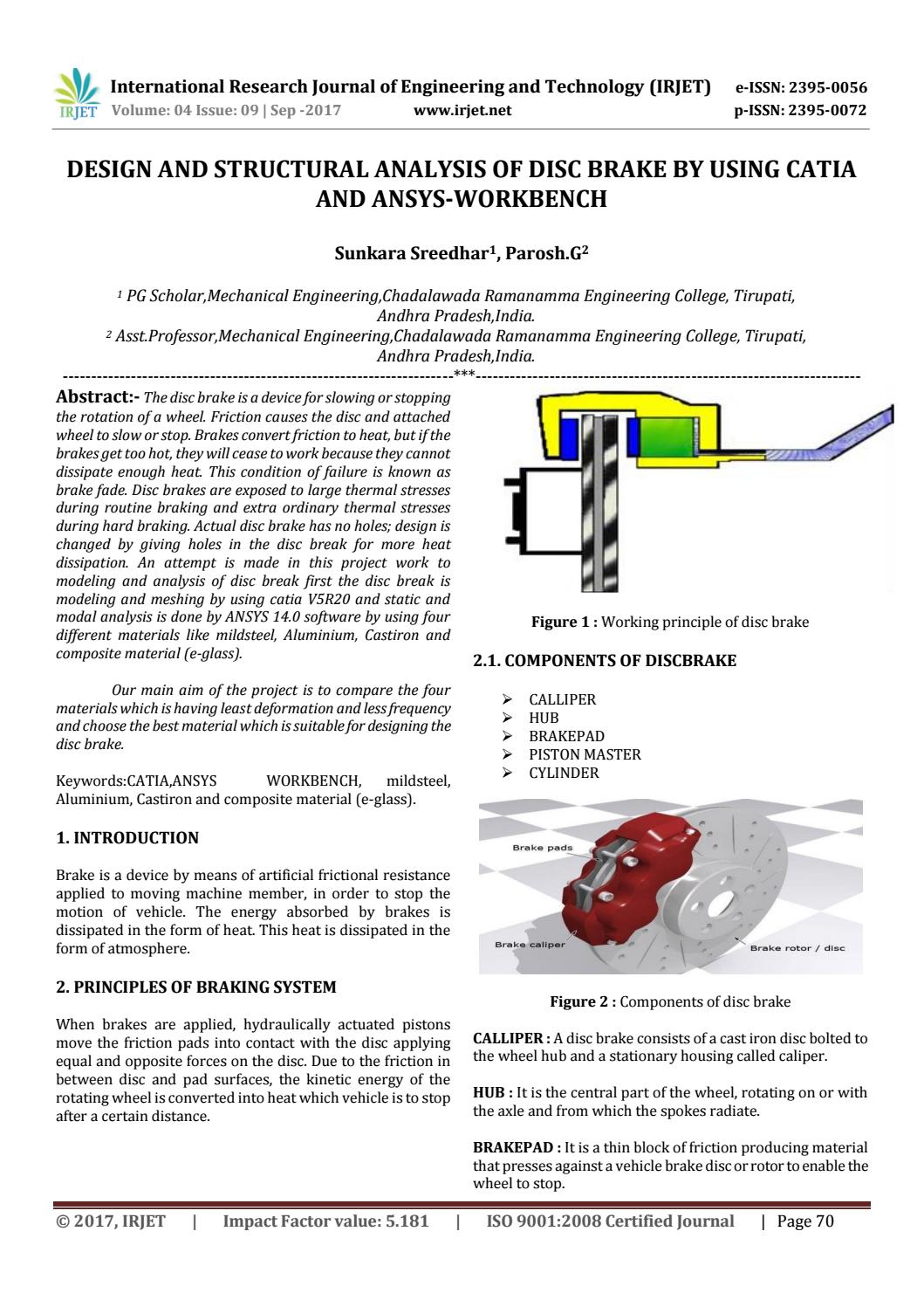 Design and Structural Analysis of Disc Brake by using CATIA and  ANSYS-WORKBENCH