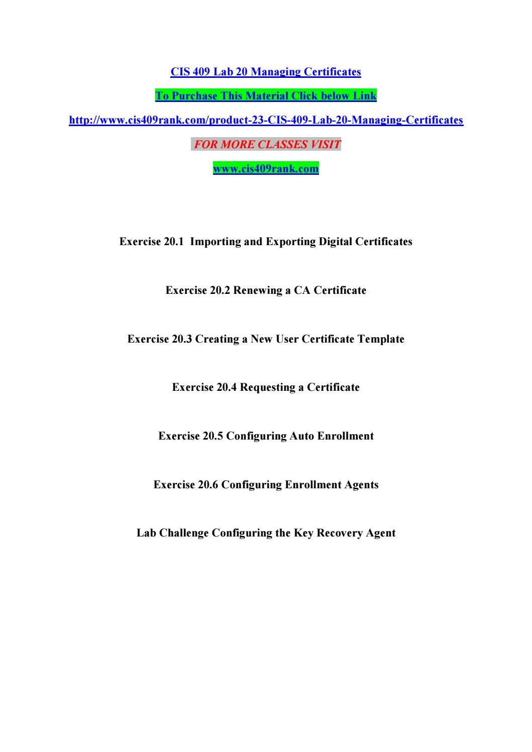Cis 409 lab 20 managing certificates by manuuu02 - issuu