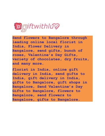Send flowers to bangalore through leading online local florist in india
