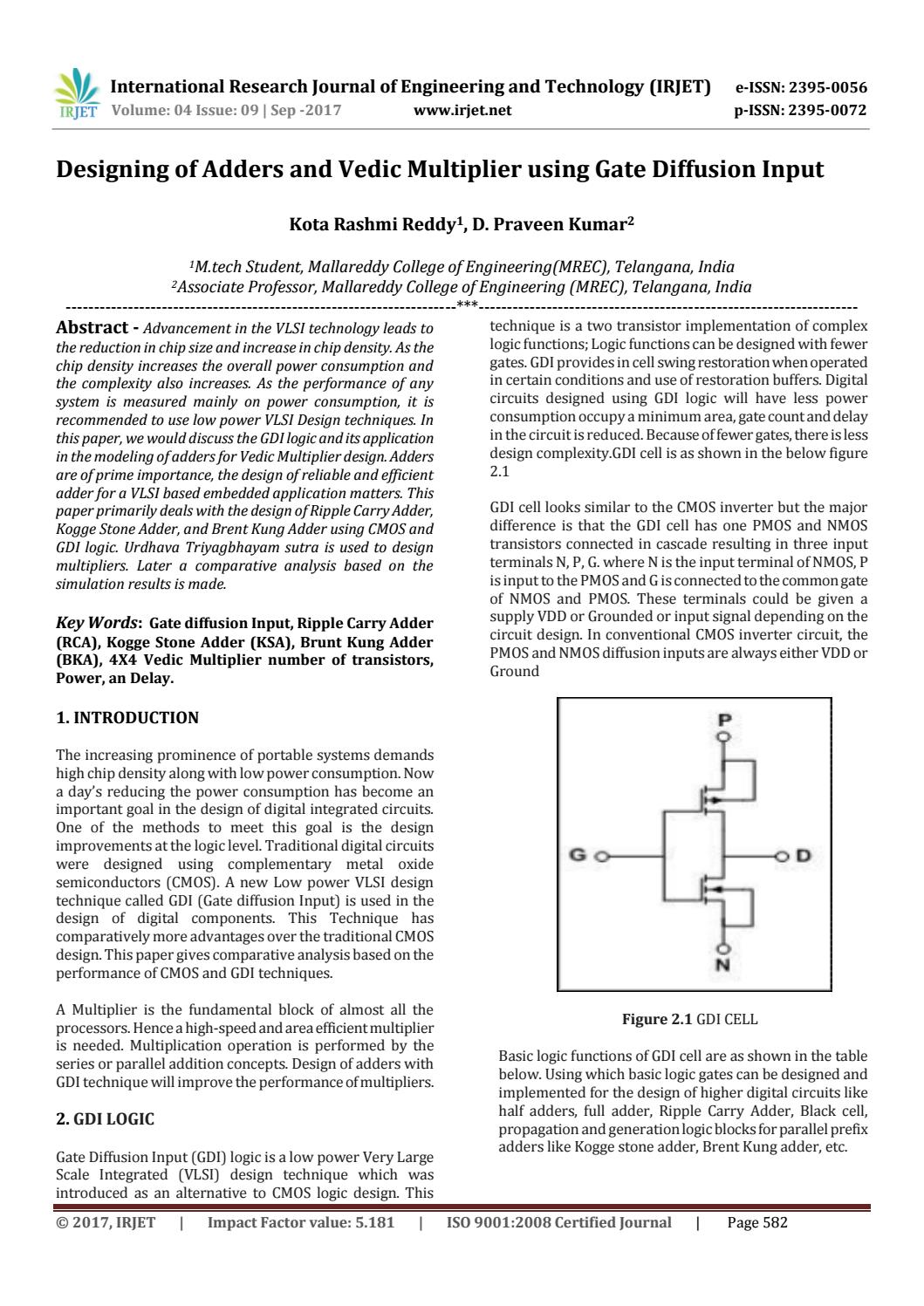 Designing Of Adders And Vedic Multiplier Using Gate Diffusion Input Circuitforcircuitconceptspage2jpg By Irjet Journal Issuu
