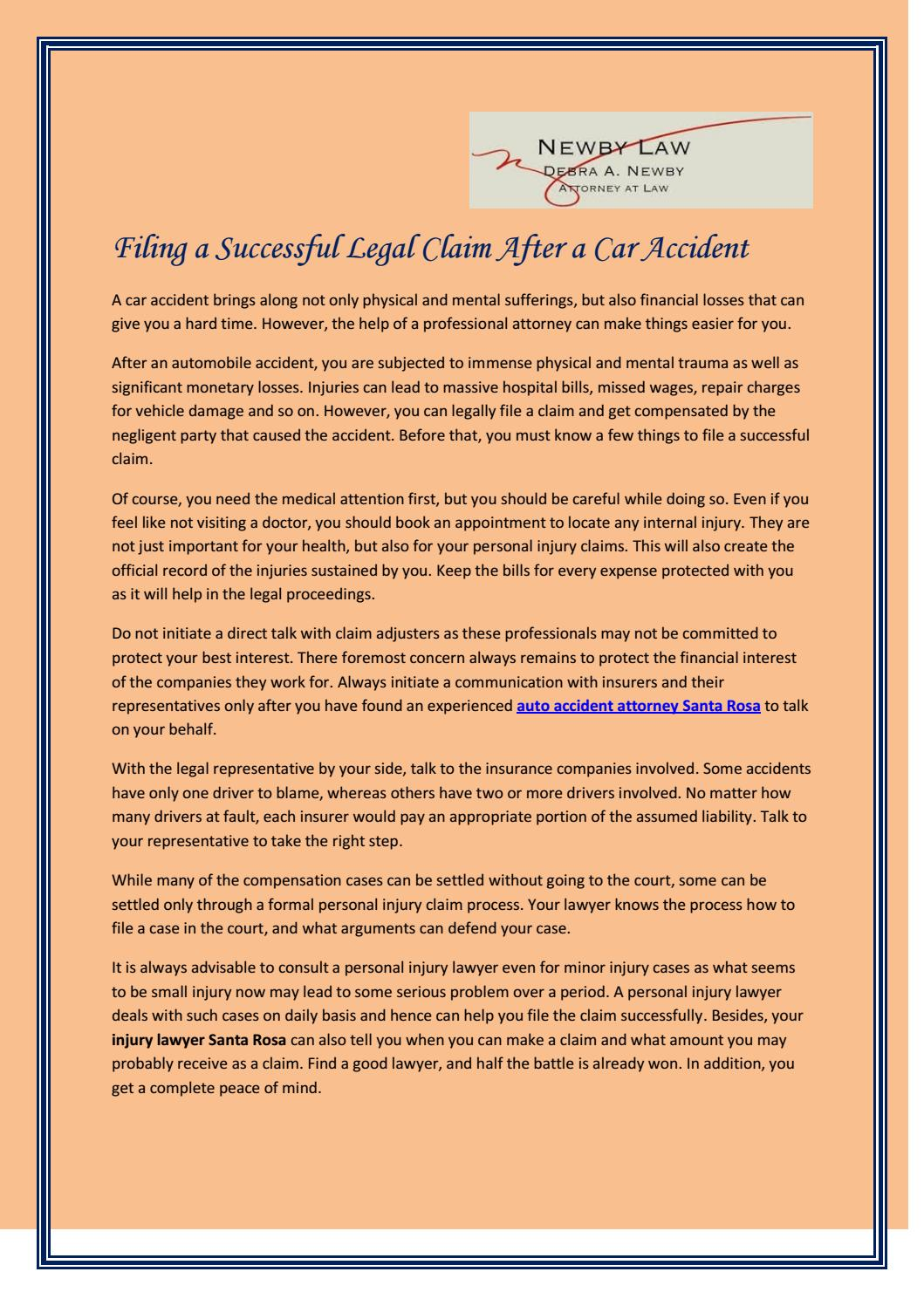 Filing a successful legal claim after a car accident by