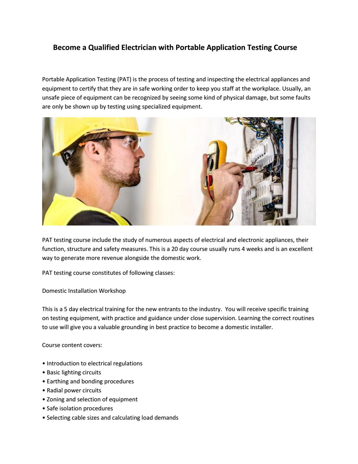 Become A Qualified Electrician With Portable Application Testing You Should Understand Why Electrical Appliances Are Earthed Course By Electricians Success Academy Issuu