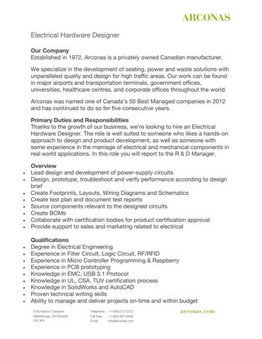 Electrical Hardware Designer Job Description By Arconas Issuu