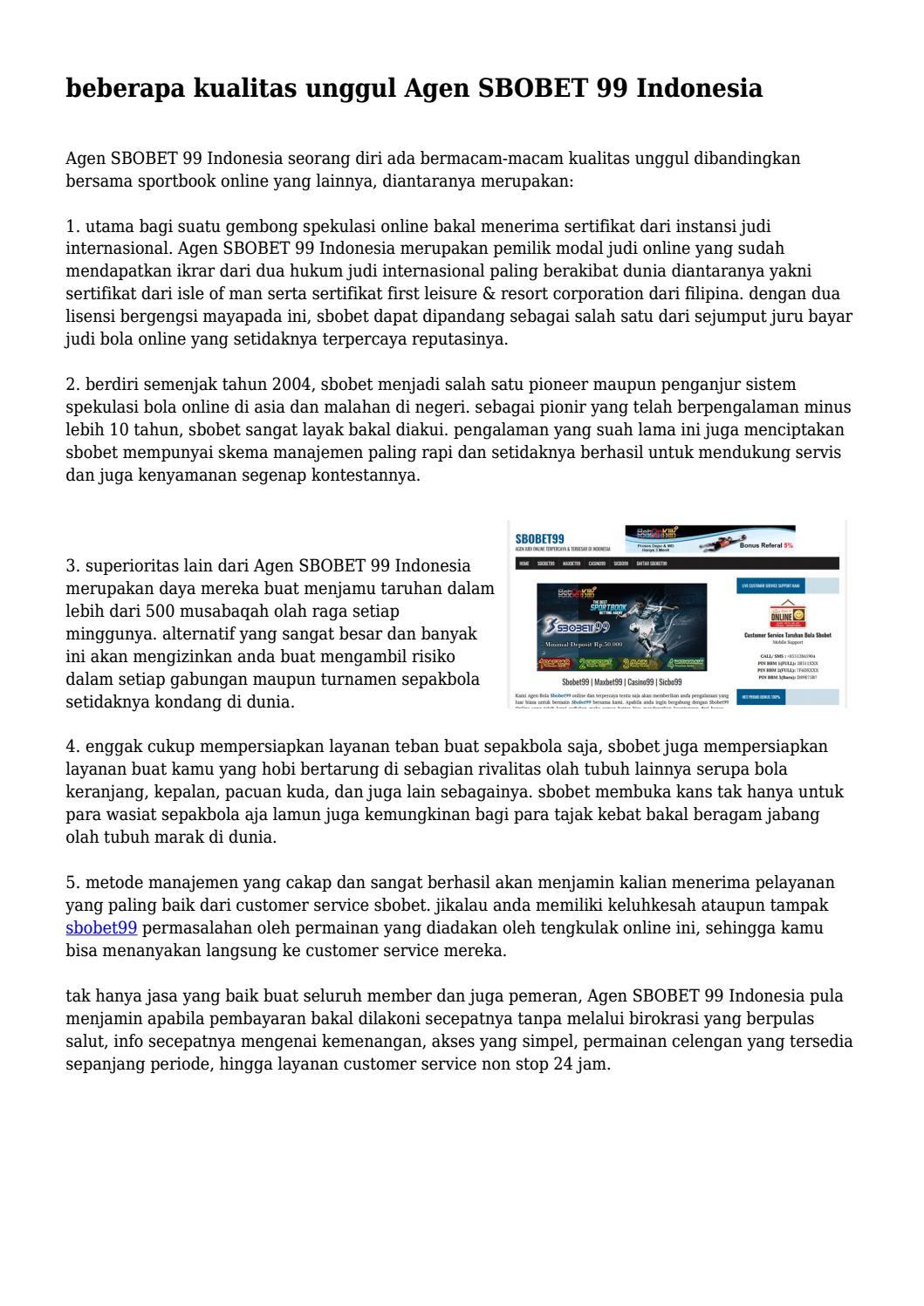 Beberapa Kualitas Unggul Agen Sbobet 99 Indonesia By Industrioushate7 Issuu