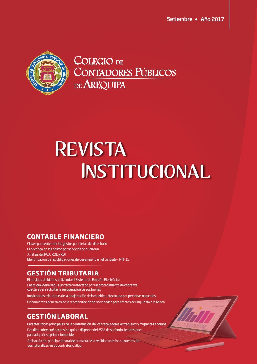 Revista Institucional Setiembre 2017 By Colegio De Contadores  # Muebles Bintash