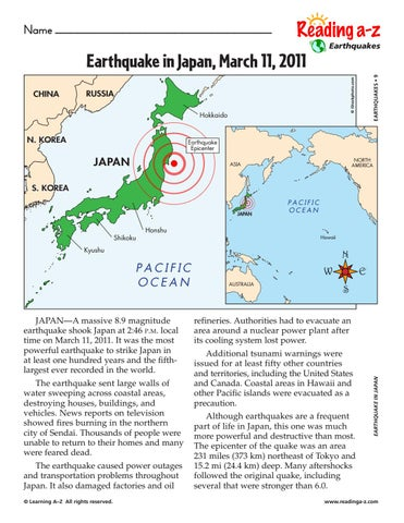 √√√√√japan earthquake and tsunami worksheets by James ...