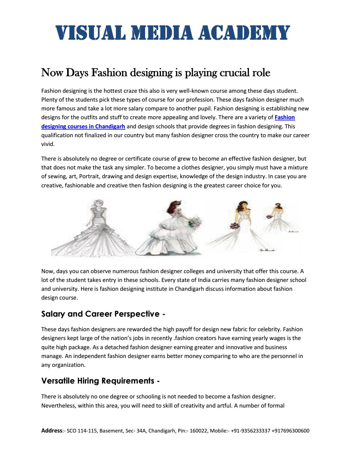 Fashion Designing Courses In Chandigarh By Visual Media Academy Issuu
