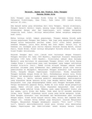 Sejarah Agama Dan Tradisi Suku Tengger Gunung Bromo Kita By