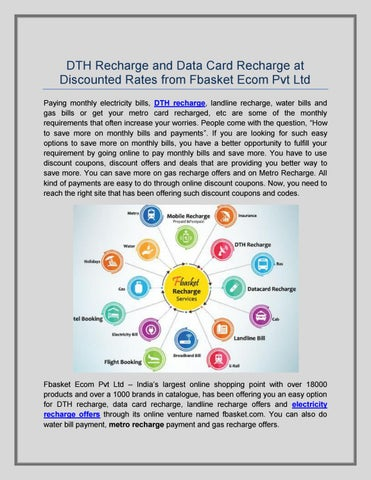 Dth Recharge and Data Card Recharge at Discounted Rates from