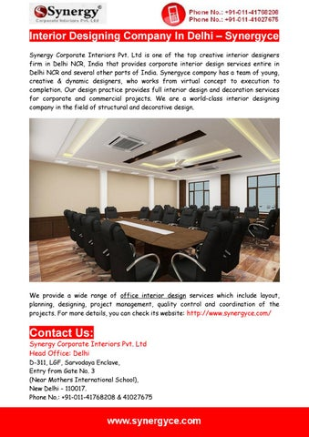 interior designing company in delhi by synergy corporate interiors
