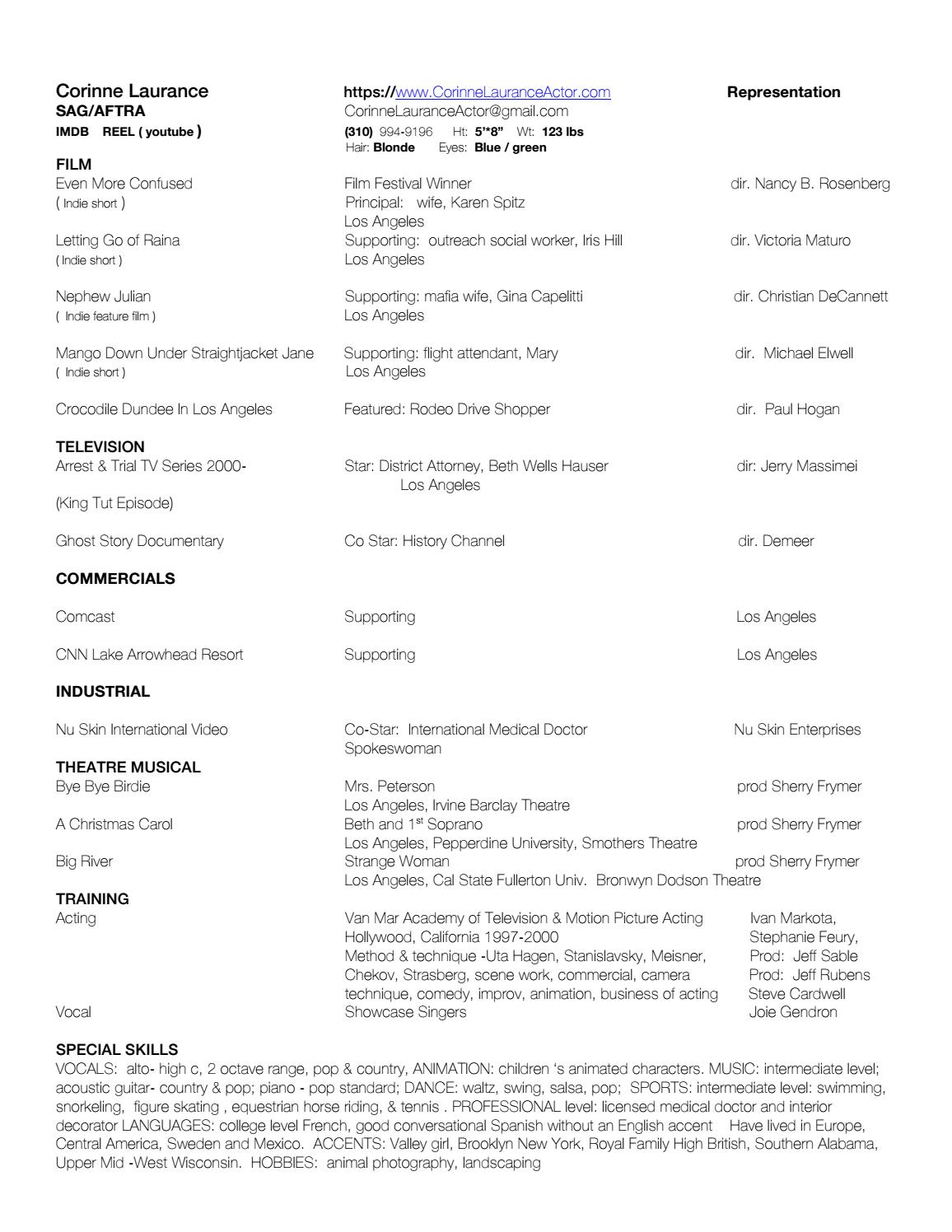Resume PDF by CorinneLauranceActor - issuu