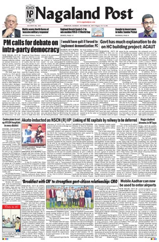 October 29, 2017 by Nagaland Post - issuu