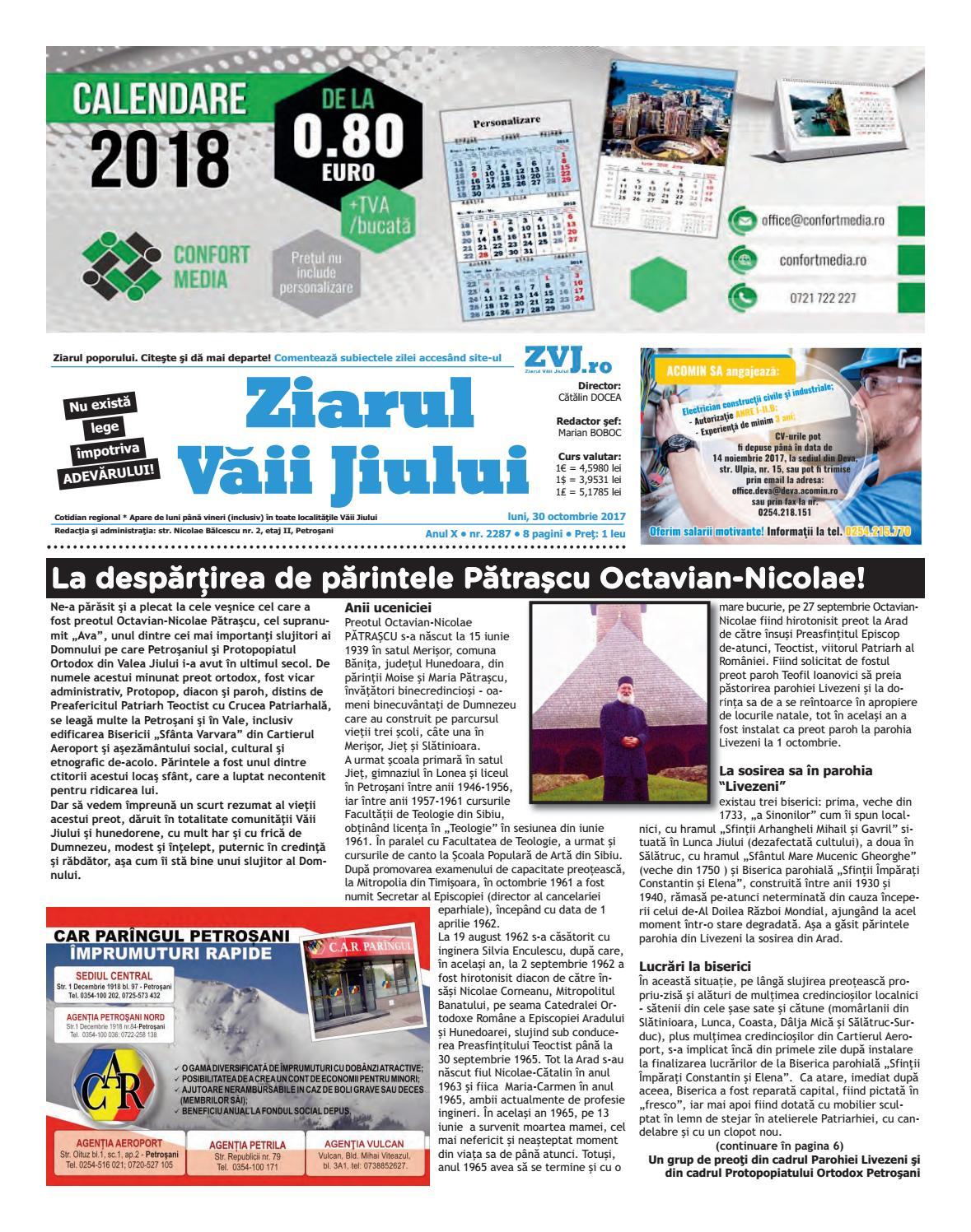 2287 Luni 30 Oct 2017 By Ziarul Vaii Jiului Issuu