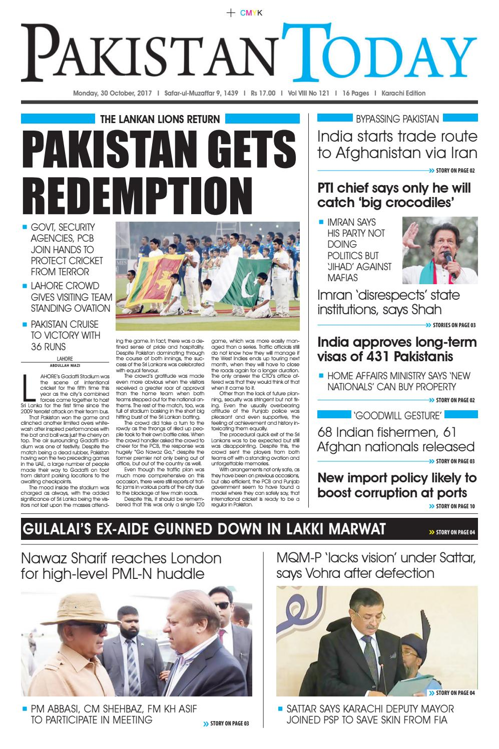 E paper pdf 30th october (khi) by Pakistan Today - issuu