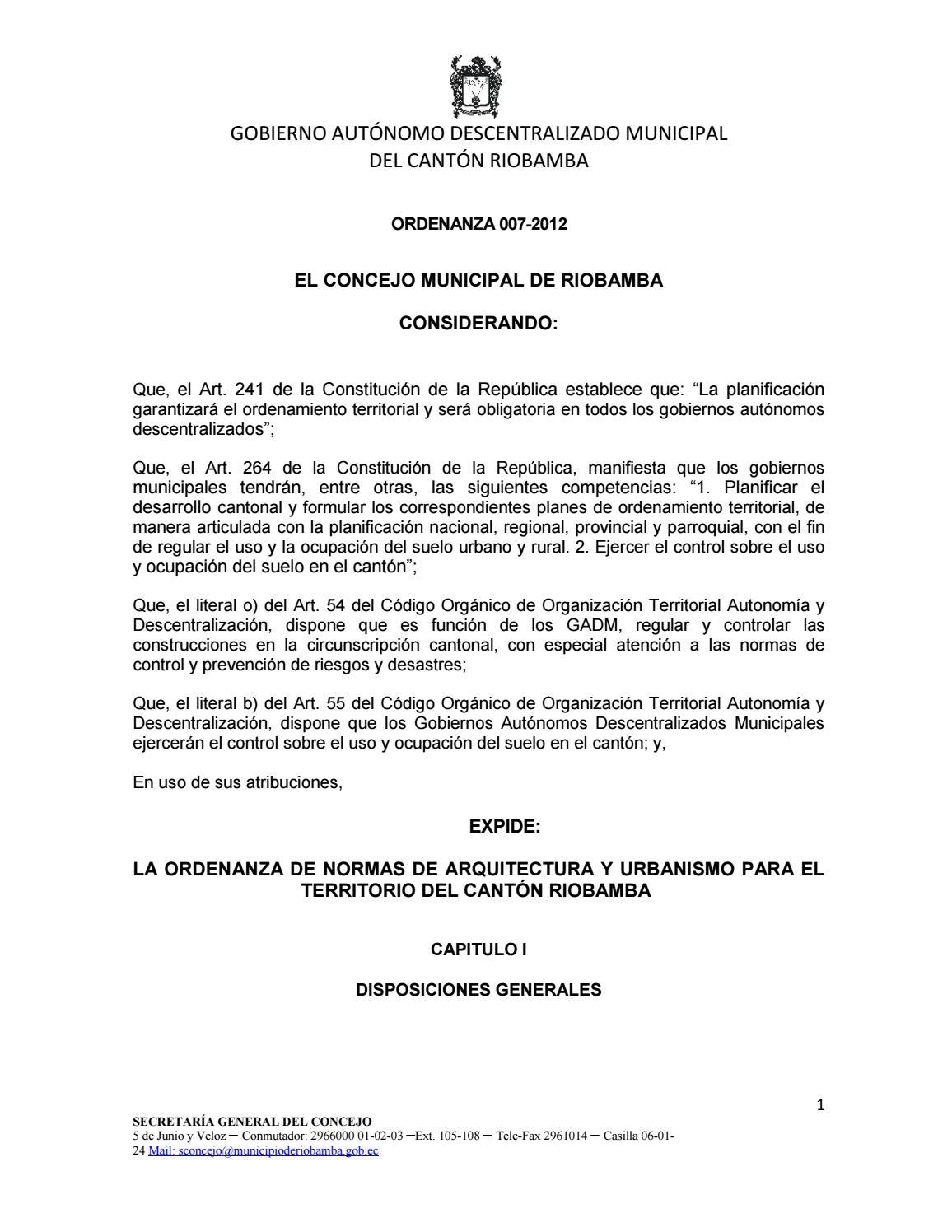 Ordenanza 007 2012 normas de arquitectura (1) by VaneLu Maza - issuu