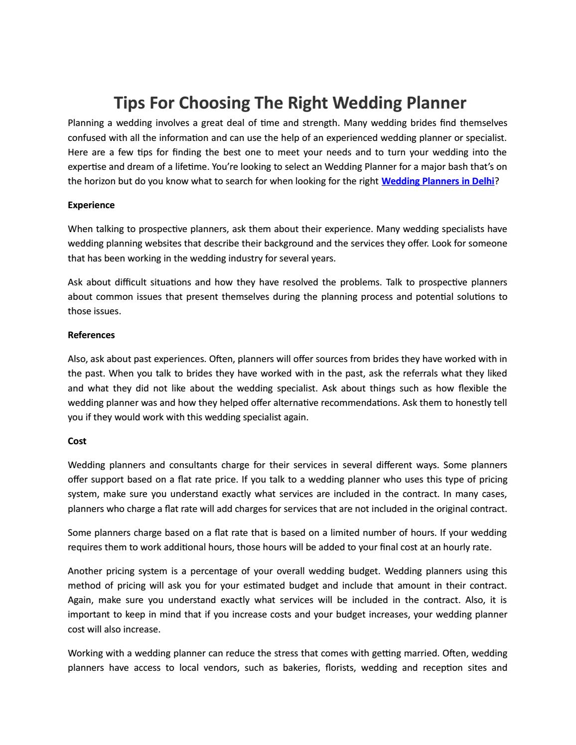 Tips For Choosing The Right Wedding Planner By Event Organisers In