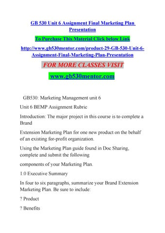 Gb  Unit  Assignment Final Marketing Plan Presentation By Chaya