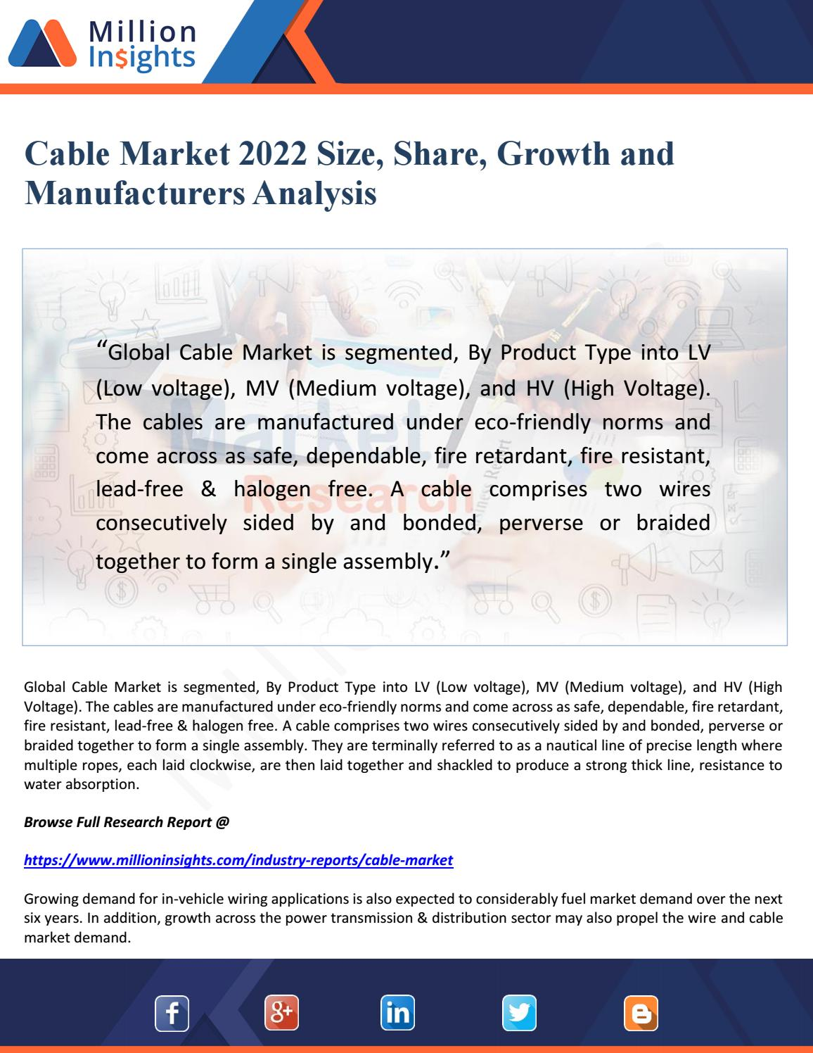 Cable market 2022 size, share, growth and manufacturers analysis by ...