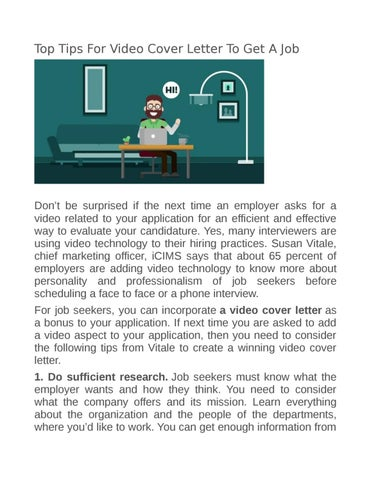top tips for video cover letter to get a job