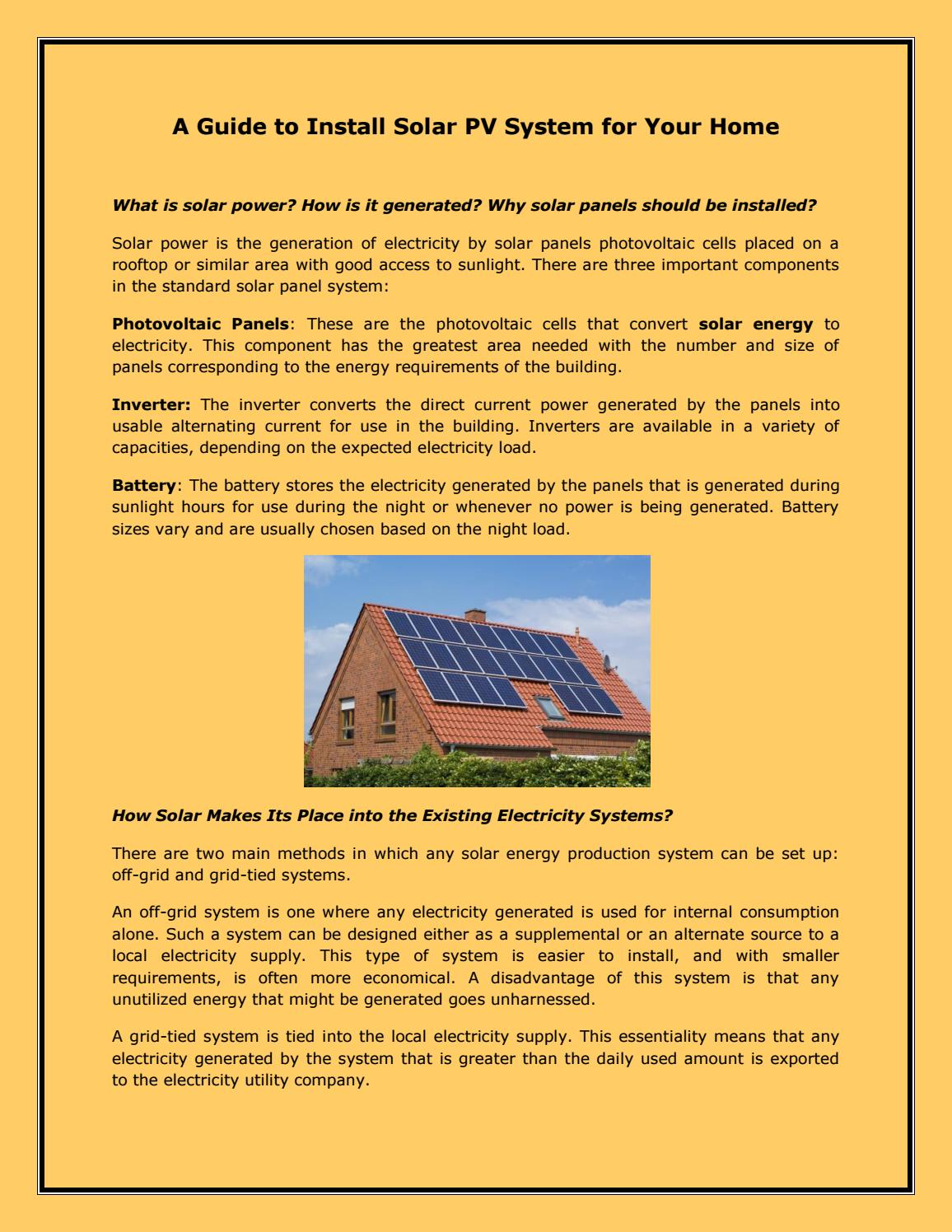 A Guide to Install Solar PV System for Your Home by Daniel