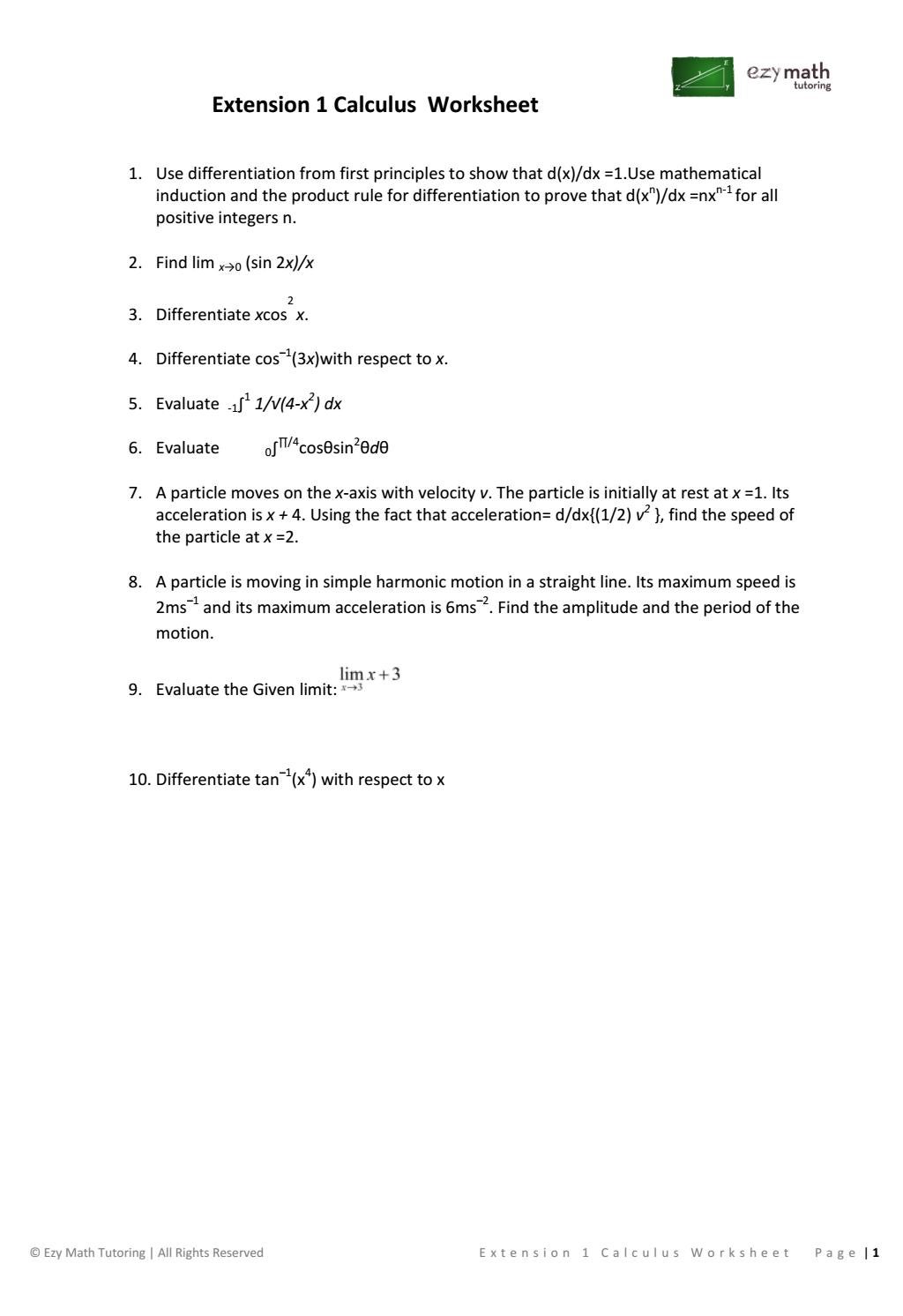 Extension 1 calculus worksheet by ezymathtutoring - issuu