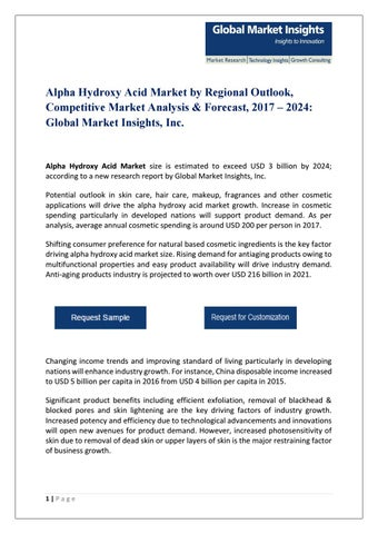 PDF for Alpha Hydroxy Acid Market Analysis, 2017 by Global Market