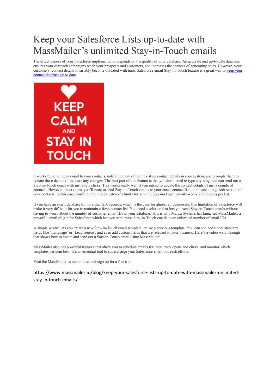 Lets keep in touch dating