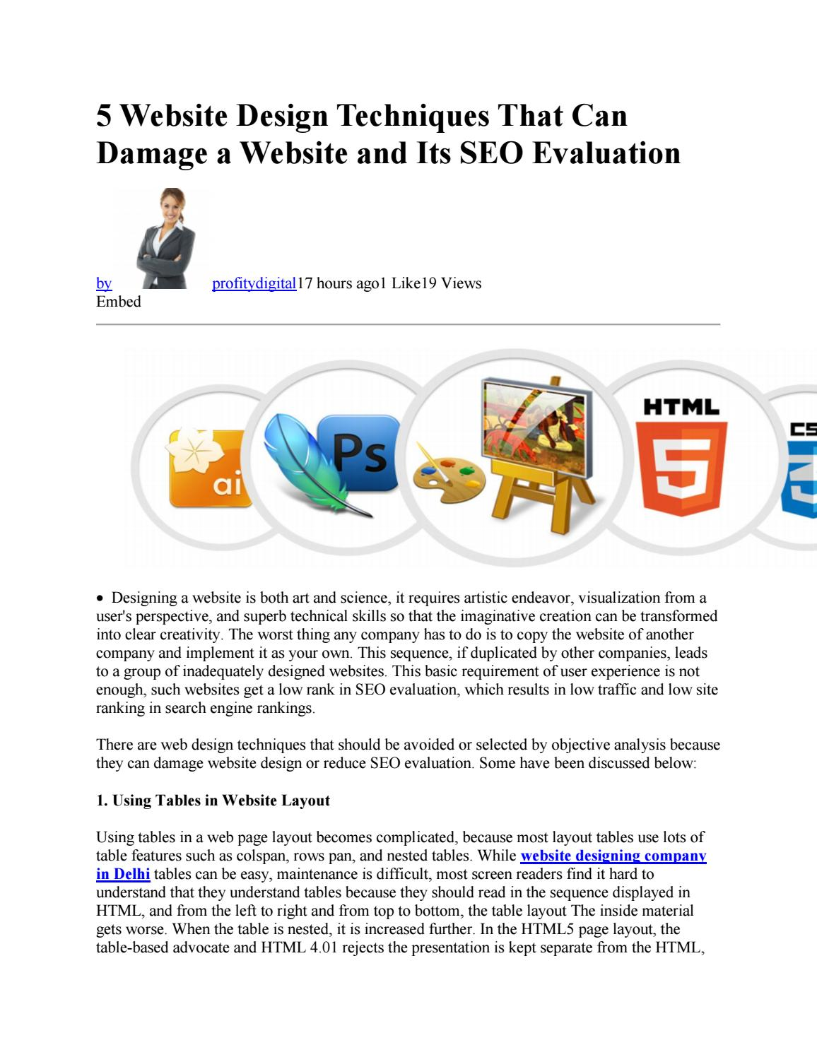 5 Website Design Techniques That Can Damage A Website And Its Seo Evaluation By Profitby Digital Issuu