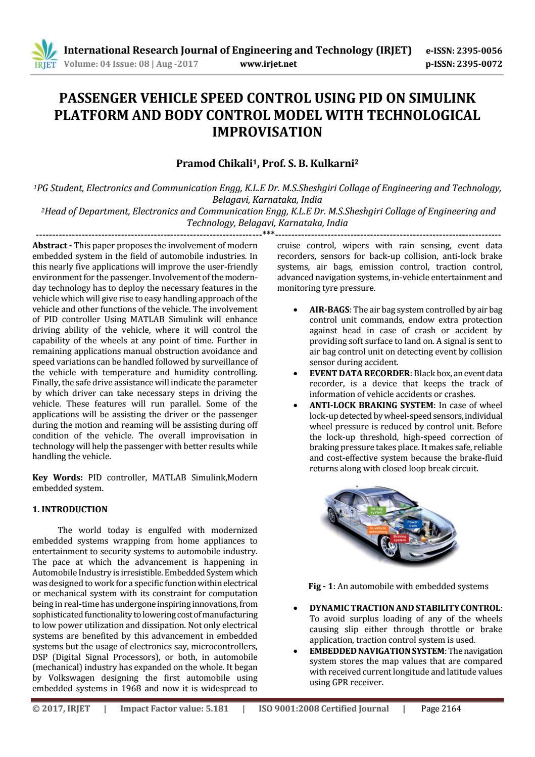 Passenger Vehicle Speed Control using PID on Simulink Platform and