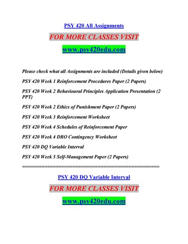 Psy 420 All Assignments By Sreej11 Issuu
