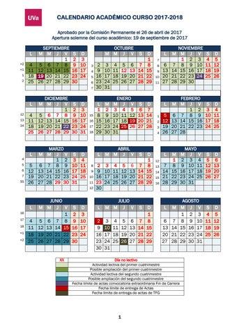 Calendario Universitario.Calendario 17 18 By Facultad De Educacion De Palencia Issuu