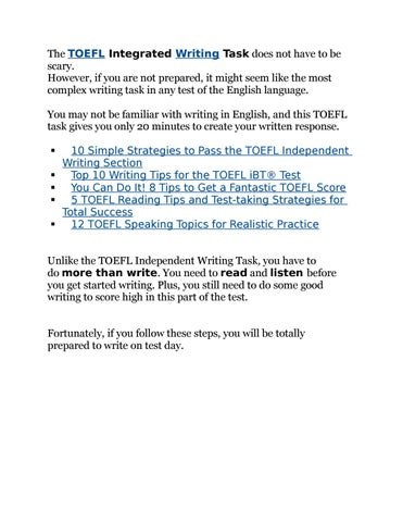 Only Read This If Youre Prepared To >> Achieve A High Score On The Toefl Integrated Writing Task In 7 Steps