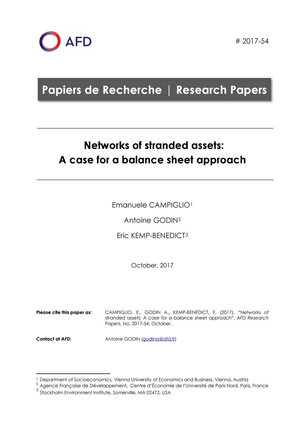 Networks of stranded assets: A case for a balance sheet approach by