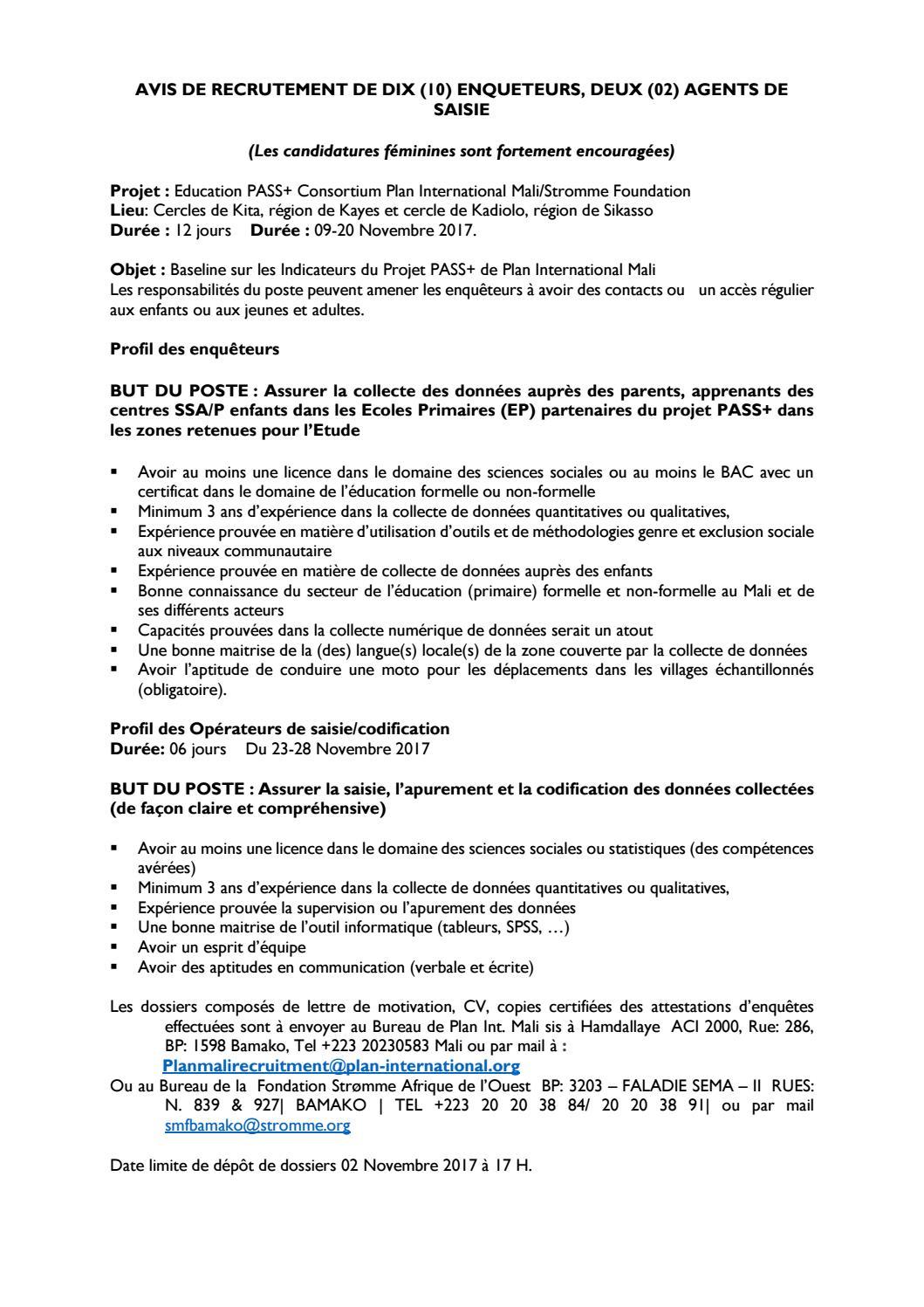 Avis De Recrutement De Dix 10 Enqueteurs Deux 02 Agents De