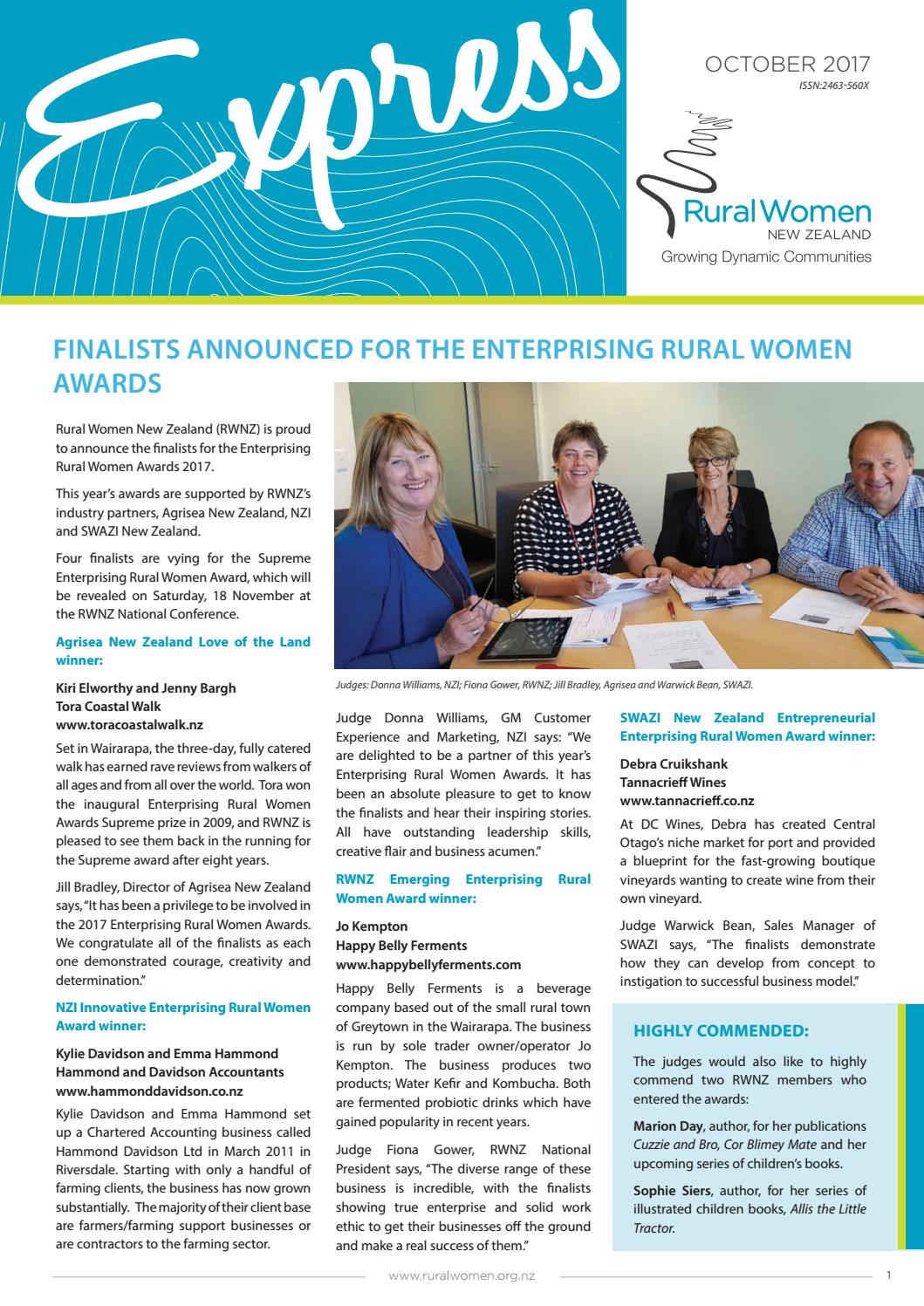 f890586630c Express October 2017 AGM issue by Rural Women New Zealand - issuu