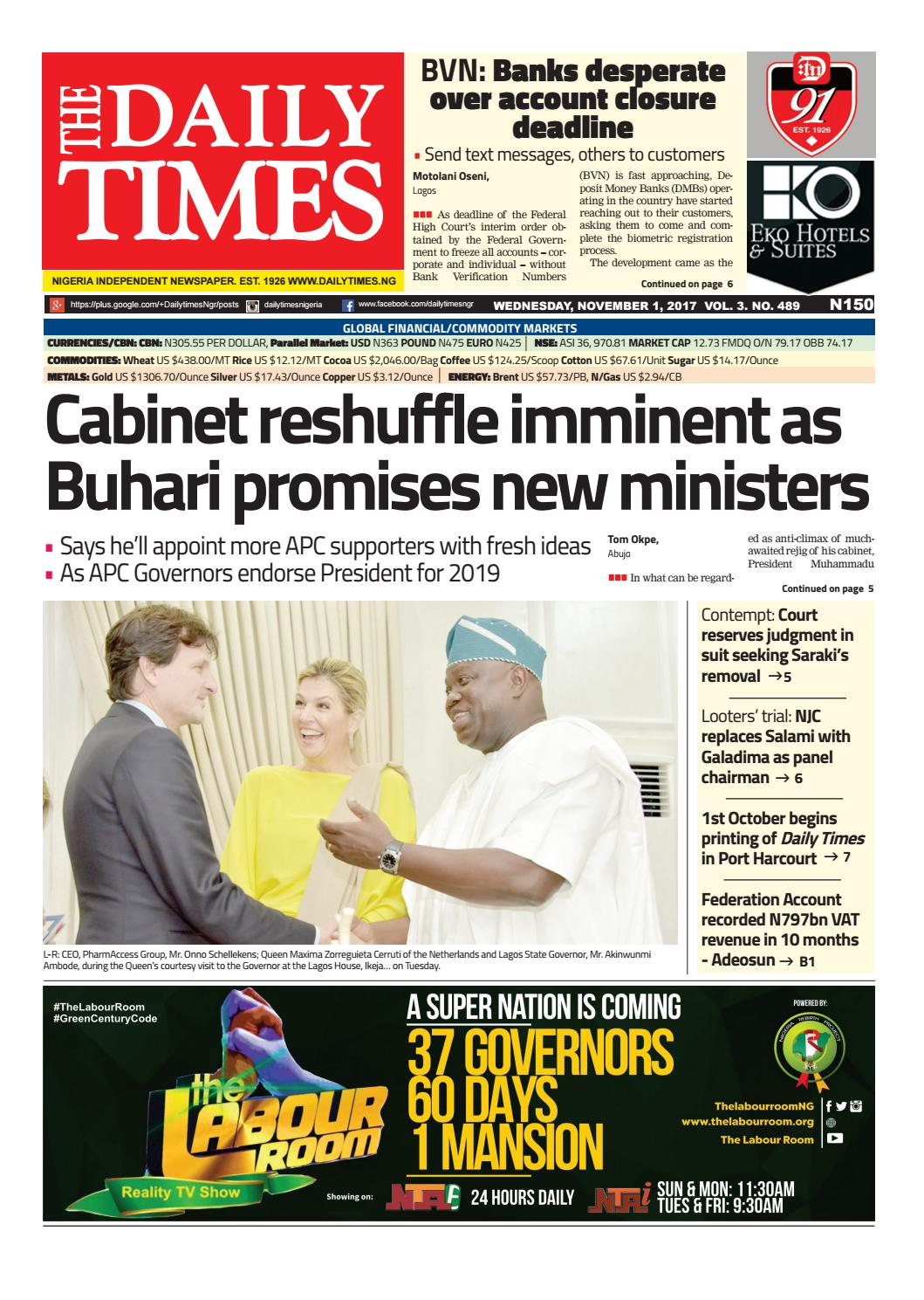 Dtn 1 11 17 by Daily Times of Nigeria - issuu