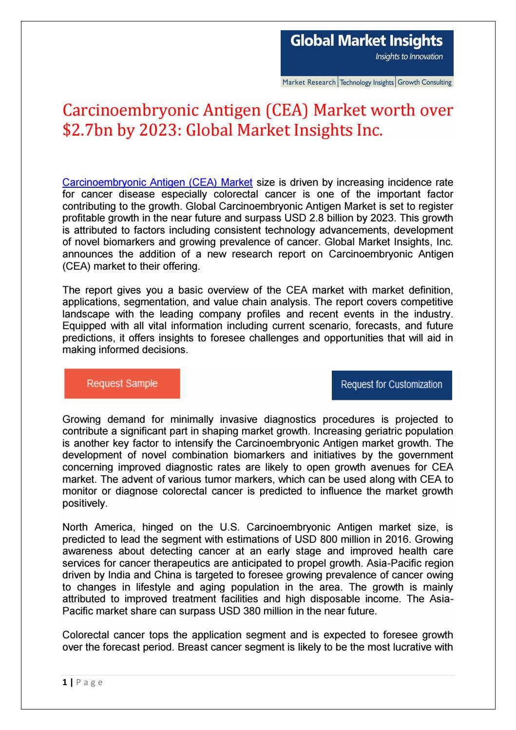 Carcinoembryonic Antigen Cea Market To Reach 2 7bn By 2023 By Jueekate Issuu