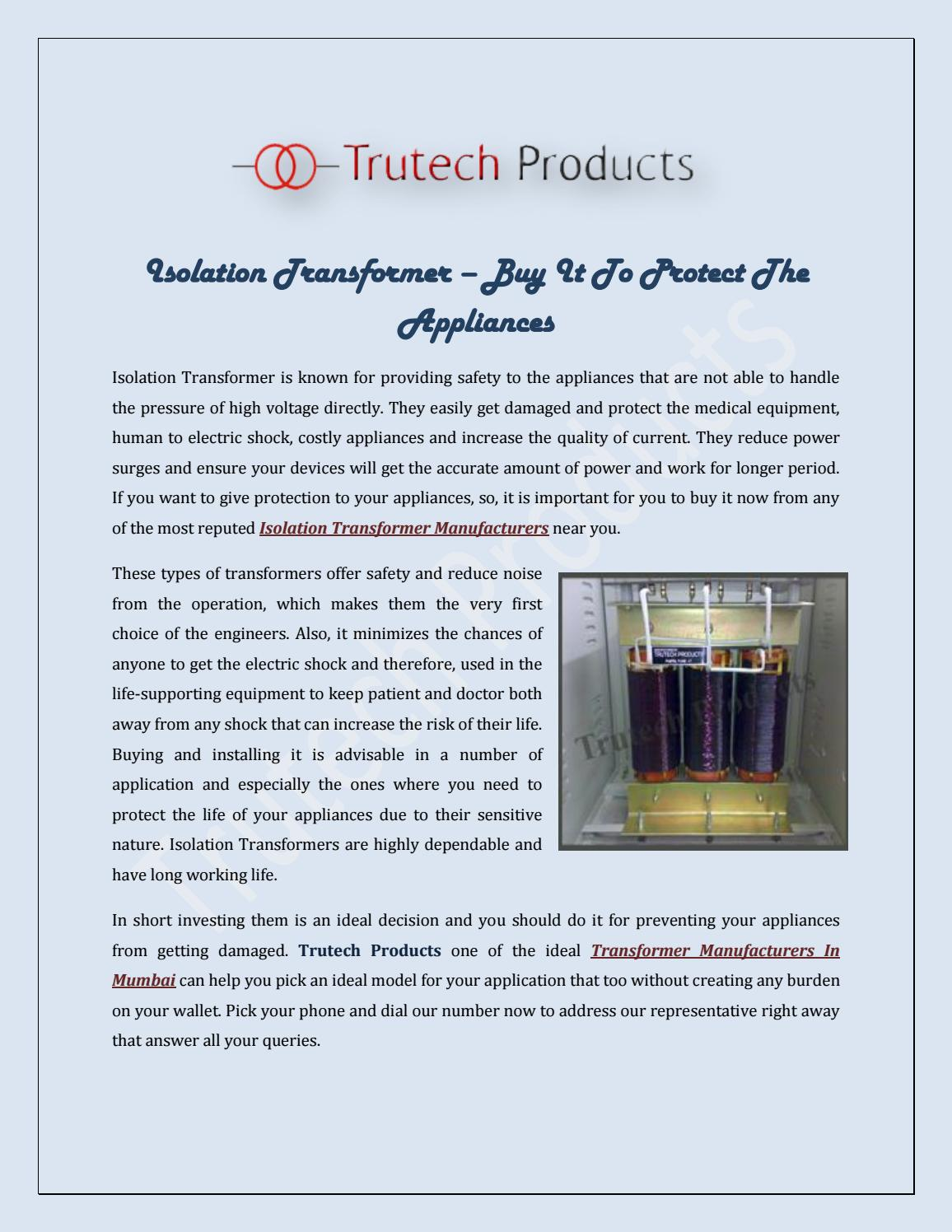 Isolation Transformerbuy It To Protect The Appliances By Trutech How Increase Currents Of A Transformer Products Issuu