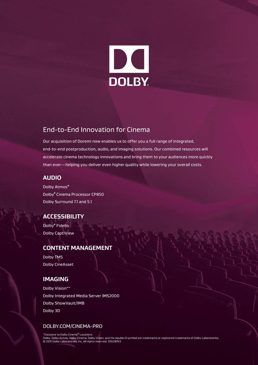 Cinema Technology Magazine - September 2015 by Cinema Technology - issuu