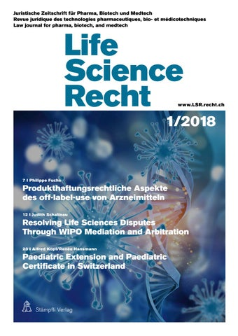 Life Science Recht 1/2018 by Stämpfli Verlag - issuu